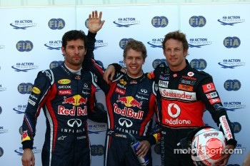 Pole winner Sebastian Vettel, Red Bull Racing, second place Jenson Button, McLaren Mercedes, third place Mark Webber, Red Bull Racing