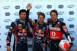 Pole winner Sebastian Vettel, Red Bull Racing, second place Jenson Button, McLaren Mercedes, third place Mark Webber, Red Bull Racing