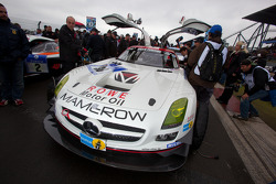 Second place on the starting grid: #30 Mamerow / Rowe Racing Mercedes-Benz SLS AMG GT3