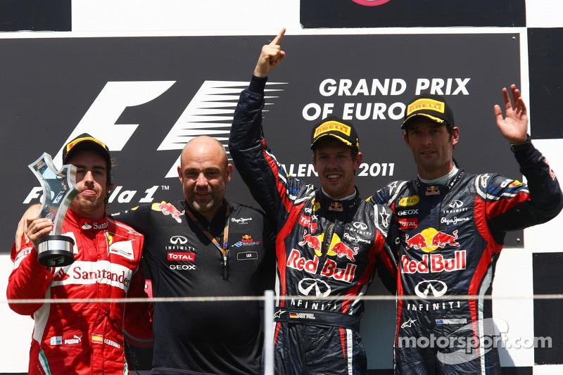2011: 1. Sebastian Vettel, 2. Fernando Alonso, 3. Mark Webber