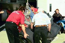 Mark Dismore's damaged car