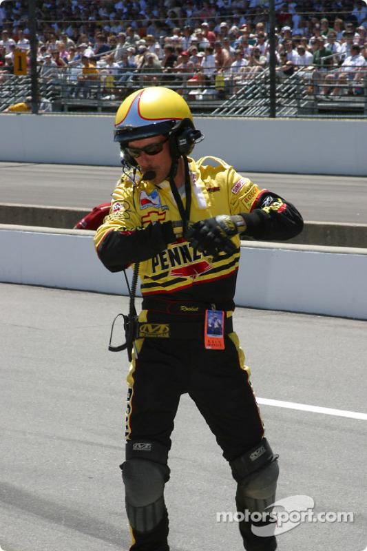 Kevin 'Rocket' Blanchard waiting for Sam Hornish Jr.