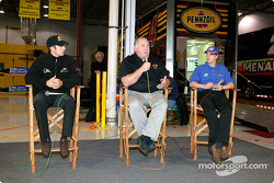 Panther Racing drivers Tomas Scheckter and Mark Taylor, flank team manager and co-owner John Barnes