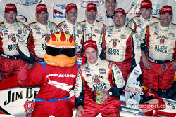 Dan Wheldon with the Firestone Hawk mascot