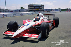 Tony Kanaan driving up in the IRL car