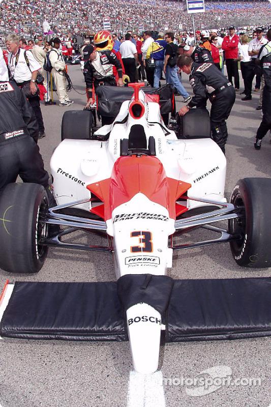 La voiture de Helio Castroneves sur la grille de départ