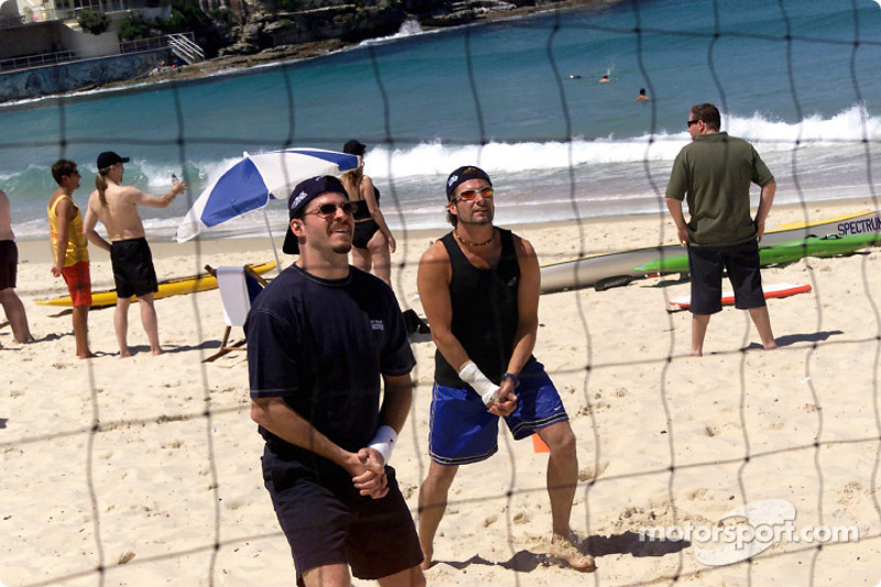 A game of beach volleyball for Patrick Carpentier and Alex Tagliani