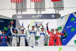 Podium GTE PRO: winners #67 Ford Chip Ganassi Racing Team UK Ford GT: Andy Priaulx, Harry Tincknell, second place #66 Ford Chip Ganassi Racing Team UK Ford GT: Olivier Pla, Stefan Mücke, third place #51 AF Corse Ferrari 488 GTE: Gianmaria Bruni, James Cala