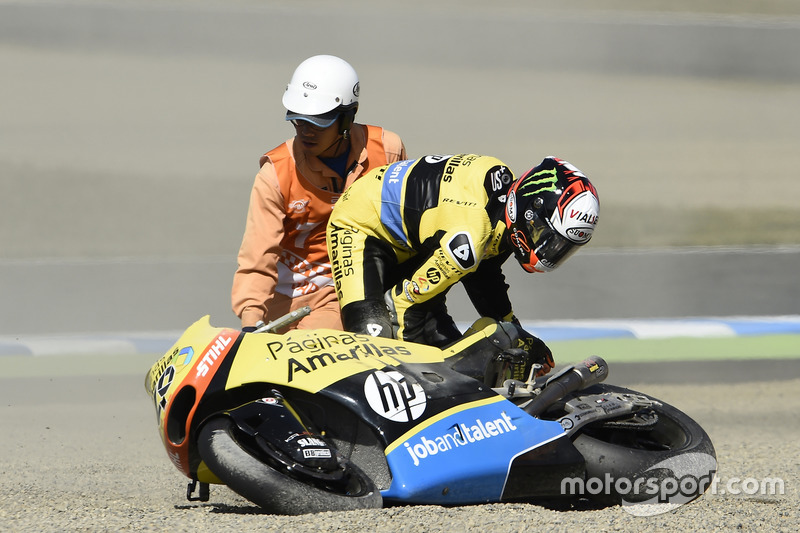 Alex Rins, Paginas Amarillas HP 40, Crash