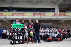 (L to R): Guenther Steiner, Haas F1 Team Prinicipal; Romain Grosjean, Haas F1 Team; Esteban Gutierrez, Haas F1 Team; and Gene Haas, Haas Automotion President, at a team photograph