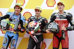 Polesitter Johann Zarco, Ajo Motorsport, tweede plaats Franco Morbidelli, Marc VDS, derde plaats, Axel Pons, AGR Team