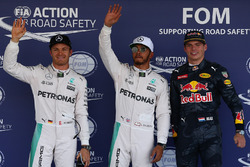 Top-drie: Nico Rosberg, Mercedes AMG F1, tweede; Lewis Hamilton, Mercedes AMG F1, pole-position; Max Verstappen, Red Bull Racing, derde