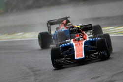 Esteban Ocon, Manor Racing MRT05 leads team mate Pascal Wehrlein, Manor Racing MRT05