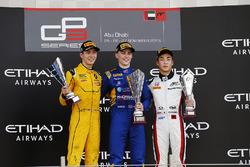 Podium: Race winner Jake Hughes, DAMS 2nd place Jack Aitken, Arden International and 3rd place Nirei Fukuzumi, ART Grand Prix