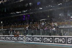 Nico Rosberg, Mercedes AMG F1 celebrates his second position and World Championship at the end of the race