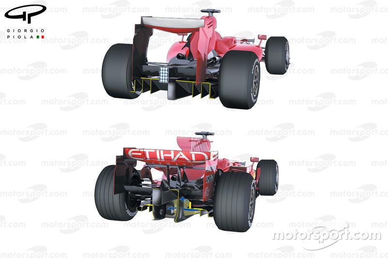 Ferrari F60 (660) 2009 diffuser, vergeleken met de F2008