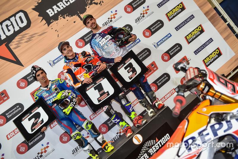 Podio: Ganador de la carrera Marc Márquez; segundo lugar Toni Elías. tercer lugar Brad Baker