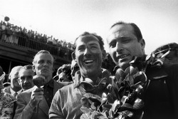 Race winner Stirling Moss, Mercedes-Benz W196; second place Juan Manuel Fangio, Mercedes-Benz W196