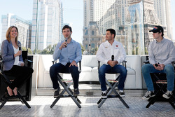 Reporter Kelli Stavast hosts a panel discussion with drivers Daniel Suarez, Kyle Larson and Ryan Blaney