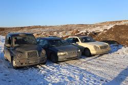 Rory Reid in a LTI TXII, Chris Harris in a Volvo V70 and Matt LeBlanc in a Mercedes E-Class in Kazakhstan
