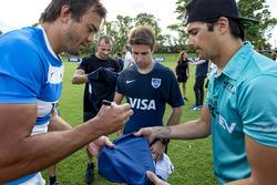 Rugby player Juan Martín Hernández with Nelson Piquet Jr., NEXTEV TCR Formula E Team and Antonio Felix da Costa, Amlin Andretti Formula E Team