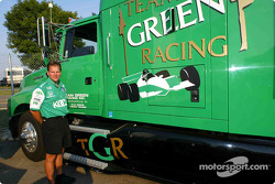 Pete Wrzesinski outside the Team KOOL Green transporter that he will drive some 4,600 miles to four CART FedEx Series events in four weeks