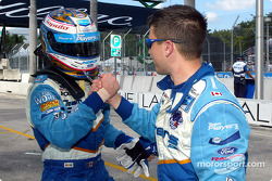 Alex Tagliani congratulated by a Team Player's crew member