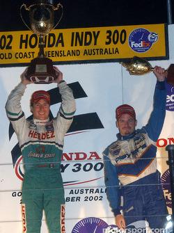 The podium: race winner Mario Dominguez and Patrick Carpentier