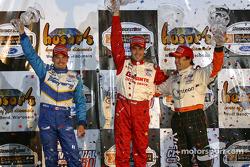 The podium: race winner Michel Jourdain Jr., Oriol Servia and Patrick Carpentier