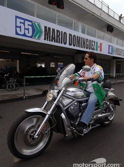 Mario Dominguez rides his Harley-Davidson