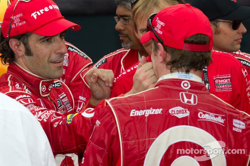 Victory circle: race winner Dario Franchitti, Target Chip Ganassi Racing celebrates with Scott Dixon