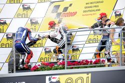 Podium: race winner Dani Pedrosa, Repsol Honda Team, second place Jorge Lorenzo, Yamaha Factory Raci