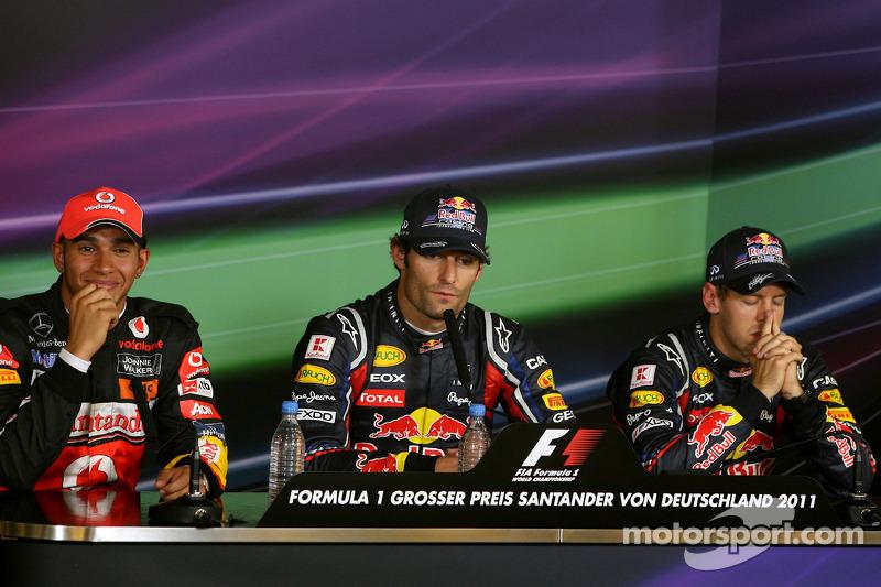 Sebastian Vettel, Red Bull Racing, Mark Webber, Red Bull Racing and Lewis Hamilton, McLaren Mercedes