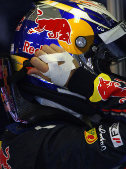 Sebastian Vettel, Red Bull Racing with his hand strapped up