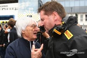 Bernie Ecclestone with Paul Hembery of Pirelli
