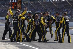Richard Childress Racing Chevrolet team members celebrate the victory of Paul Menard