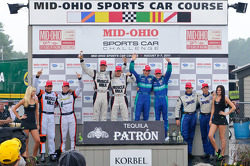 Class winners podium: LMPC winners Kyle Marcelli and Tomy Drissi, LMP winners Lucas Luhr and Klaus Graf, LMGT winners Wolf Henzler and Bryan Sellers, LMGTC winners Duncan Ende and Spencer Pumpelly