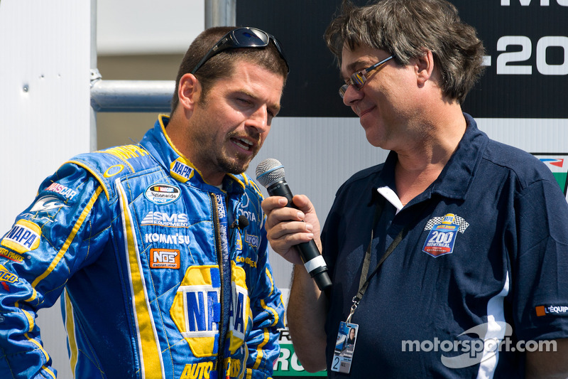 Patrick Carpentier, Pastrana Waltrip Racing Toyota on stage for his last race in career