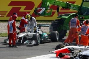Nico Rosberg, Mercedes GP F1 Team aftre a crash caused by Vitantonio Liuzzi, HRT F1 Team