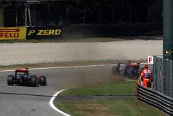 Michael Schumacher, Mercedes GP F1 Team forces Lewis Hamilton, McLaren Mercedes onto the grass