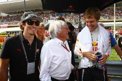 Nicky Hayden Motor GP rider and Bernie Ecclestone and Sebastian Vettel, Red Bull Racing