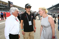 Bernie Ecclestone with Nicky Hayden, MotoGP rider and Vitaly Petrov's manager