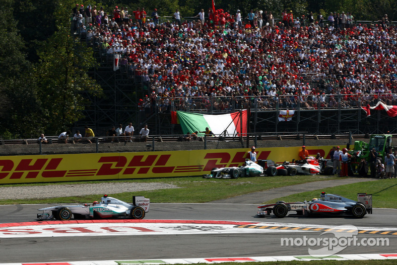 Michael Schumacher, Mercedes GP F1 Team leads Lewis Hamilton, McLaren Mercedes