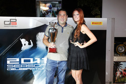 Pete Slewinski collects the trophy for 3rd place team for Marussia Manor Racing in the GP3 Championship