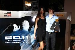 Esteban Gutierrez collects his Dallara trophy for best overtake