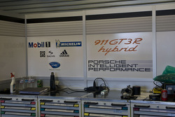 Garage and equipment detail of #911 Porsche Motorpsorts North America Porsche GT3R Hybrid: Romain Dumas, Richard Lietz
