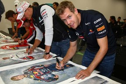 The 5 world champions with signed photos commissioned by Bernie Ecclestone, Red Bull Racing and Michael Schumacher, Mercedes GP Petronas F1 Team