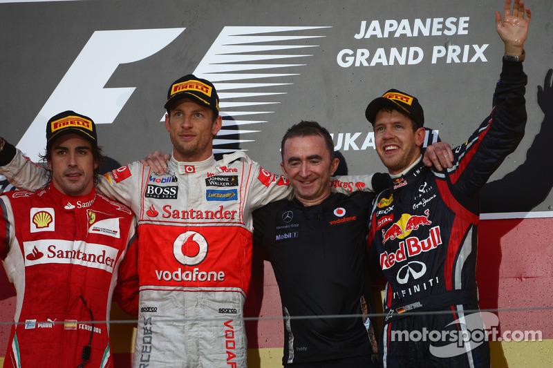 Fernando Alonso, Scuderia Ferrari with Jenson Button, McLaren Mercedes and new world champion Sebast