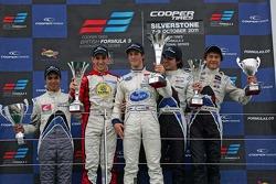 Podium from left: G.Silva, Lucas Foresti, Alexander Sims, Pietro Fantin, and Kotaro Sakurai
