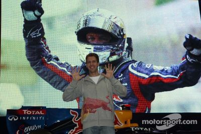 Sebastian Vettel visits Red Bull headquarters
